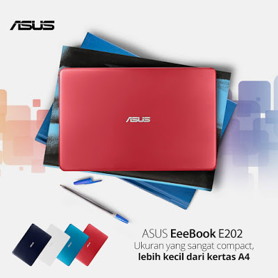 ASUS E202 compact lebih kecil dari kertas A4